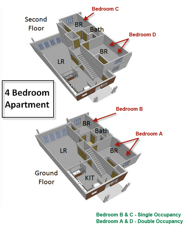 floorplan of a four bedroom apartment