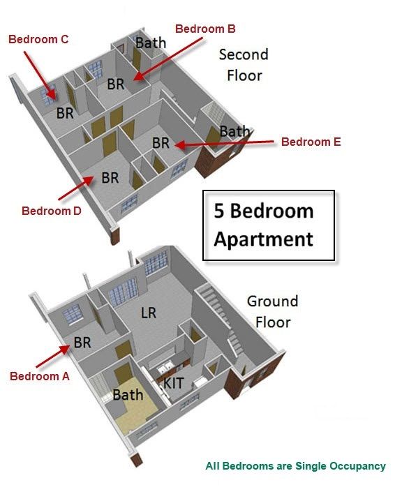 floorplan of a five bedroom apartment