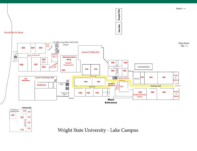 Cus Maps Lake Wright State University: Wayne State Campus Map At Slyspyder.com